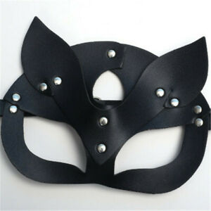 Women PU Leather Cat Ears Cosplay Half Face Head Shield Halloween Masquerade