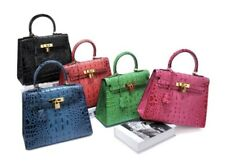 Crocodile Embossed Italian Leather 28cm Kelly Type Top Handle Satchel Handbag