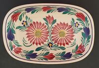 """HB Henriot Quimper Hand Painted Oval Dish France F.162 Multicolor Floral 7"""""""