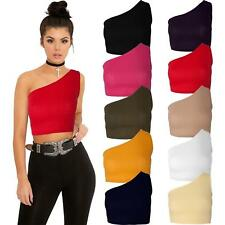 Ladies Off One Shoulder Strap Ribbed Crop Top Vest Stretch Sleeveless Bardot