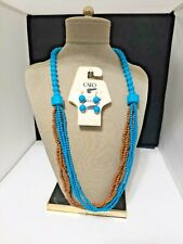 Cato Necklace and Earrings Set Dangle Boho Blue and Brown