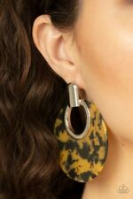 Paparazzi Earrings ~ Metro Zoo -Yellow Golden Leopard Print Acrylic Post Earring