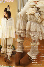 Lolita Women Embroider Lace Ruffles Pants Loose Japanese Retro Mori Girl
