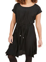New Next Size 6,10,12,14,16 Black Short Sleeve Drawstring Waist Dress (b1)