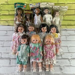 Set Of 12 Vintage Plastic Craft Doll Fibre Craft, Just For Keeps And Others
