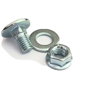 M8 x 15mm Grade 8.8 BZP Carriage Bolt Serrated Flange Nut and Washer Pack of 25