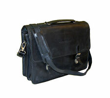 """ROOTS Canada Metropolitan Leather Flap-Over 17"""" Lawyers / Scholars Briefcase"""