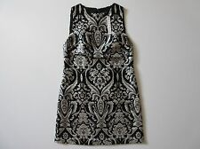 NWT Alice + Olivia Clyde Black & White Damask Jacquard A-line Mini Shift Dress 6