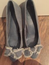 Gorgeous Denim Bow Court Shoes Size 6 Zara