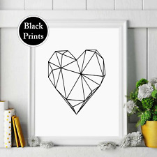 Geometric love heart  black text Wall Print  Decor, Wall Art