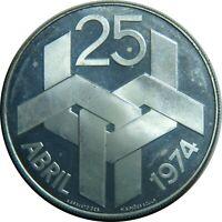 PORTUGAL 250 ESCUDOS 1974 KM#604 SILVER REVOLUTION 1974 PROOF LIKE T7