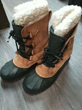Land's End Men's Insulated Suede Rubber Snow Winter Boots Lined Lace Up EUC 8M