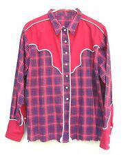 Red Plaid Cowboy Shirt Round Lake Saddle Club