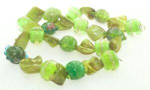 OliveStuart Handmade Lampwork Beads 15 green w/sterling silver threaround/lentil