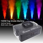 1500W Fog Machine RGB 3in1 24 LEDs DMX Vertical Spray Stage Smoke Fogger Show DJ