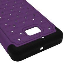Purple Black Case for Nokia Lumia Icon 929 Hybrid Dual Layer Purple Black Cover