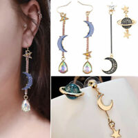 Long Pendant Korean Crystal Earrings Woman Style Dangle Rhinestone Moon and Star