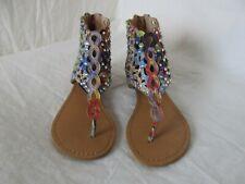 Girls Rock & Candy Arvita Tie Dye Watercolor Jeweled Sandals Size 13.5 Euc