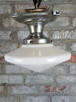VTG Art Deco Ceiling Light Fixture w/ Shade Flush Mount Bathroom Foyer Style