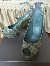 McQueen Leather peep-toe platform pumps with ankle strap 8/8.5