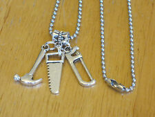 Men's Silver-Tone Construction Worker/Carpenter Tool Pendant Necklace w/Hammer+
