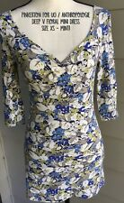 Pinkerton Anthropologie Size XS Knit Bodycon Mini Dress Plunge Floral Blue Green