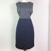 Hobbs Black & Grey Polka Dot Fit & Flare A-line Midi Dress UK Size 16
