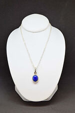 Blue Oval Sterling Silver Pendant with 16 inch Chain