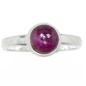 Natural Ruby Star 925 Sterling Silver Ring Jewelry s.8 BR100478