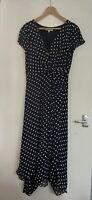 Laura Ashley Polkadot Knot Front Dress Spots Size 14 Ruffle Hem