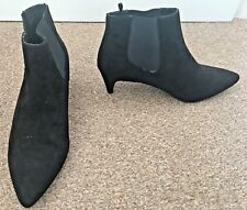 Ladies New Look Black Faux Suede Slim Heel Ankle Boots Size 6 Wide Fit SB12