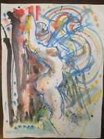 """Hendrik Grice Watercolor Painting with ink on paper, Signed, 18""""X24"""", Untitled"""