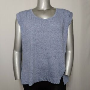 Lane Bryant Top 14W Womens Heather Blue Jersey Scoop Neck Muscle Tank Cap Sleeve