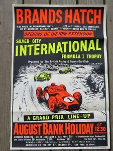 """Original 1960/61 19.75"""" x 30"""" Brands Hatch England Formula I Auto Racing Poster"""