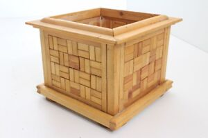Flower Pot Planter Wood Handmade Individual Piece Mosaic (11)