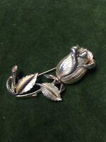 1980s Hollywood Brooch Rose Bud Vintage Pin Flower Design Gold Coloured Metal