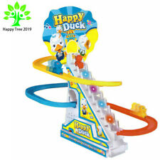 Happy Duck Run Race Track Toy Music Stairway Spinning Gear Sets Electric Orbital