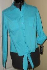 *ZAC & RACHEL BLOUSE SHIRT SIZE S TURQUOISE STRETCH BUTTON FRONT NWT
