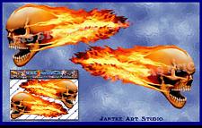 FLAMING SKULL Small Funny Vinyl Car Sticker Decal Motorbike Caravan-ST00016_SML