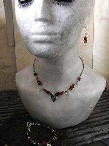 RAW DRUZY HEART RHODONITE gemstone chips NECKLACE BRACELET EARRINGS ethnic boho