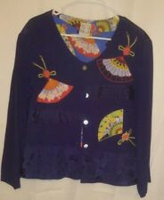 GLOBE  TROTTER Clothing of Bali  blouse front button  sz S embroider&