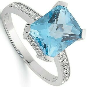 Blue Topaz and Diamond Ring White Gold 4.82ctw Solitaire Hallmarked Certificate