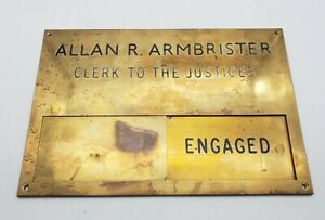 Antique Solid Brass Magistrates Court Clerk To The Justices Plaque Reclaimed