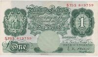 B274 L.K.O'BRIEN 1955 REPLACEMENT ONE POUND S73S BANKNOTE NEAR EXTREMELY FINE