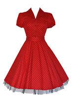 Ladies 40's 50's Vintage Style Red Polka Dot Classic Jive Shirt Dress New 8 - 26