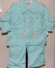 Tuti Fruiti  Toddler/Girls 2 piece pant & jacket set turquoise with flowers