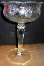 Vintage Collectible Pressed Glass Stemmed Compote Daisy Button Pattern Bowl