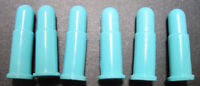 six turquoise plastic bullets   for cap gun holster