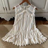 M New Boho White Lace Hem Layering Tank Top Tunic Blouse Women's Size MEDIUM