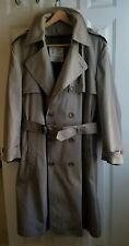 London Fog Overcoat Trench Coat Maincoat Rain Lined Belted Double Gun Flap sz 46
